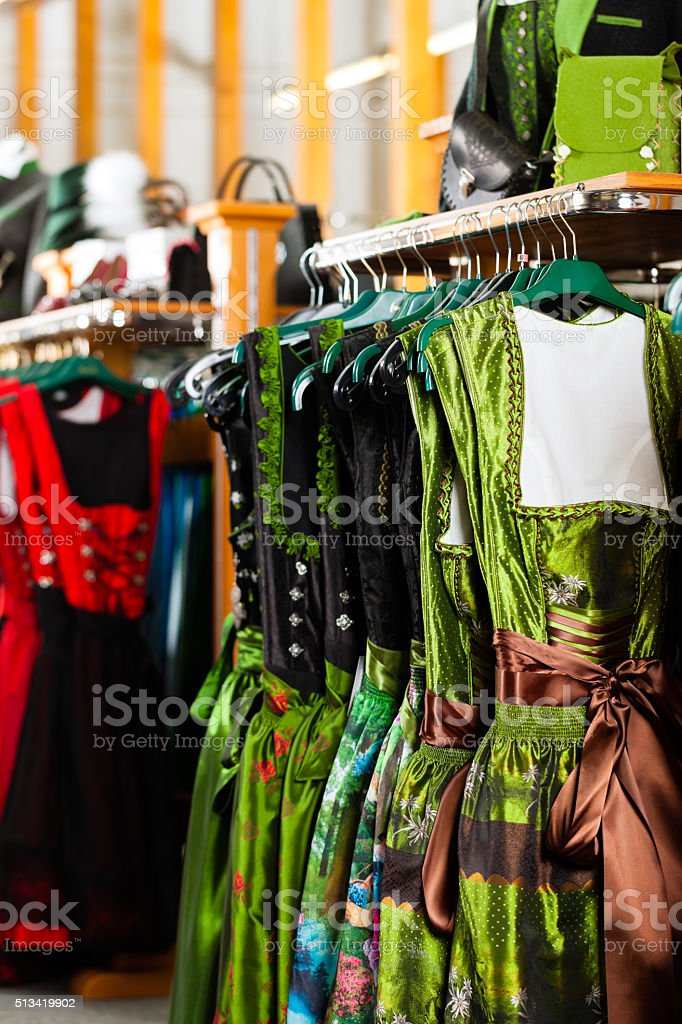 Traditional clothes - Tracht or dirndl in a shop stock photo