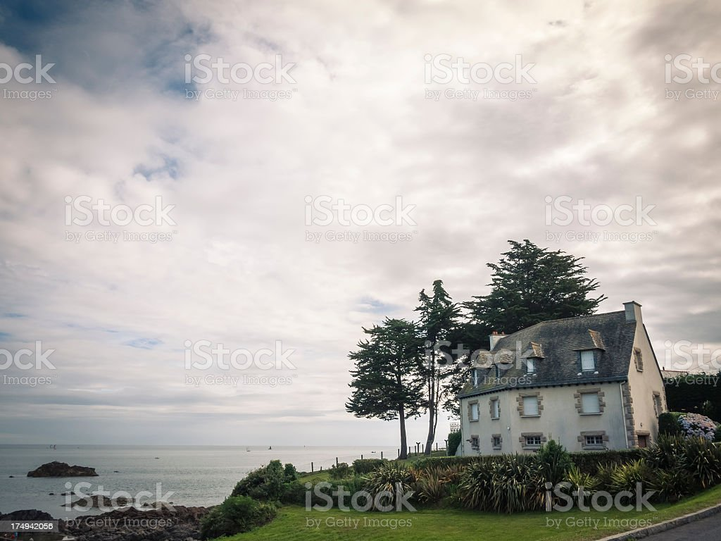 Traditional coastline house in Brittany, France stock photo