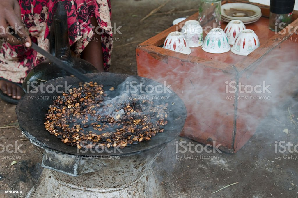 Traditional coffee ceremony with roasted coffee in Arba Minch, Ethiopia stock photo