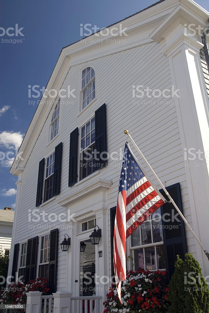 Traditional Colonial House stock photo