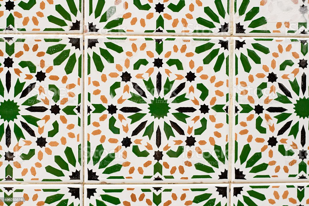 Traditional colored tiles. Mahdia, Tunisia, Africa. stock photo