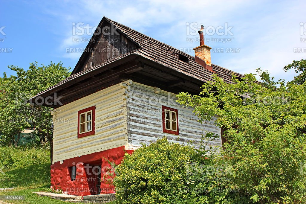traditional colored wooden house in Vlkolinec, Slovakia stock photo