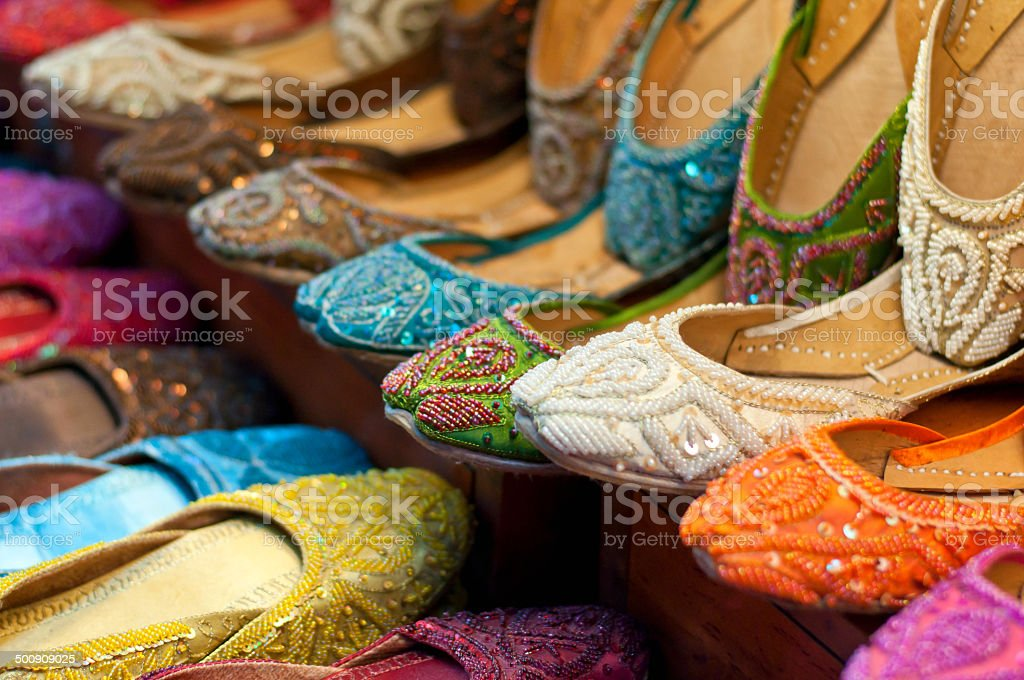 Traditional colorful Arabic slippers stock photo