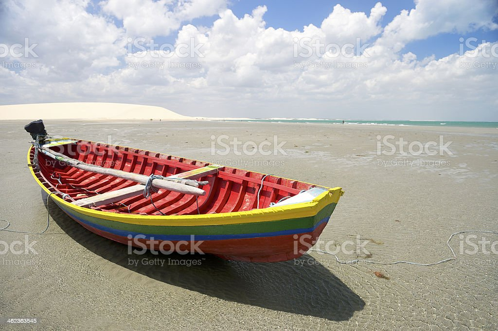 Traditional Colorful Brazilian Fishing Boat Jericoacoara Brazil stock photo