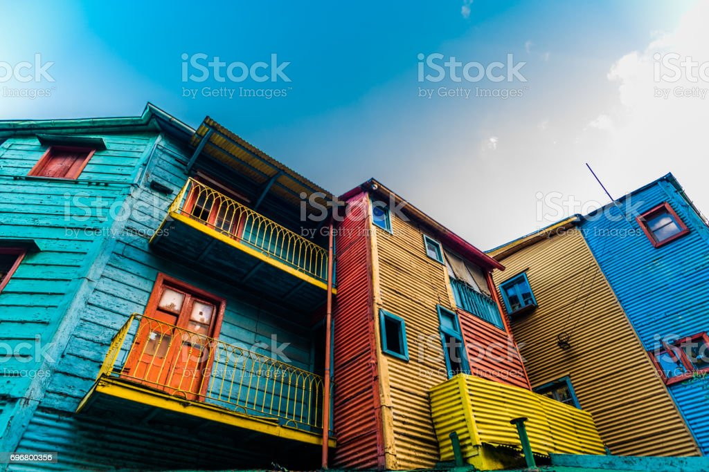 Traditional colorful houses on Caminito street in La Boca neighborhood, Buenos Aires stock photo