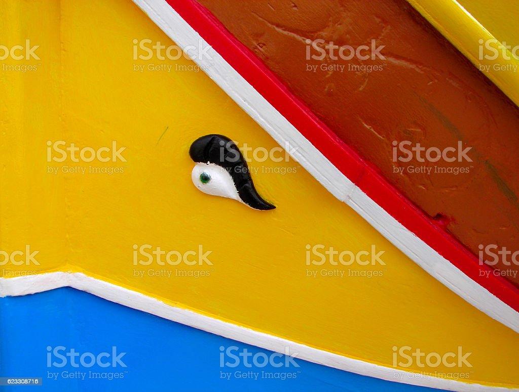 Traditional colorful maltese fishing boat, Luzzu, Marsaxlokk stock photo
