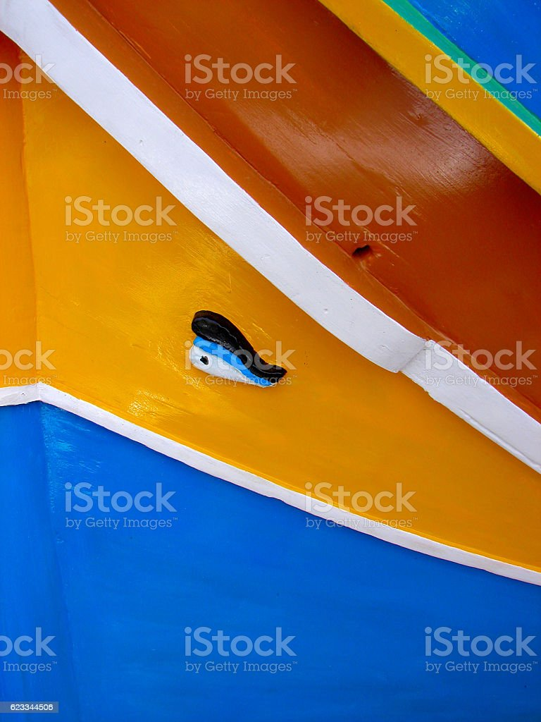 Traditional colorful maltese fishing boat, Luzzu, Marsaxlokk stock photo