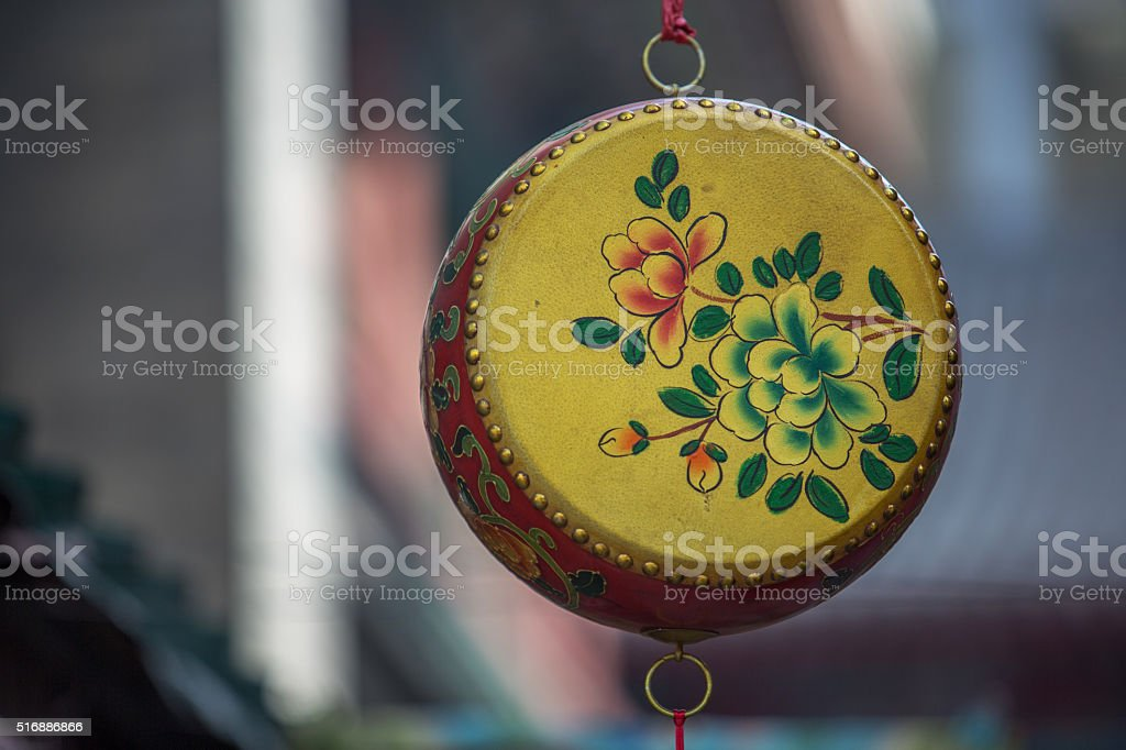 traditional colorful painting drum stock photo
