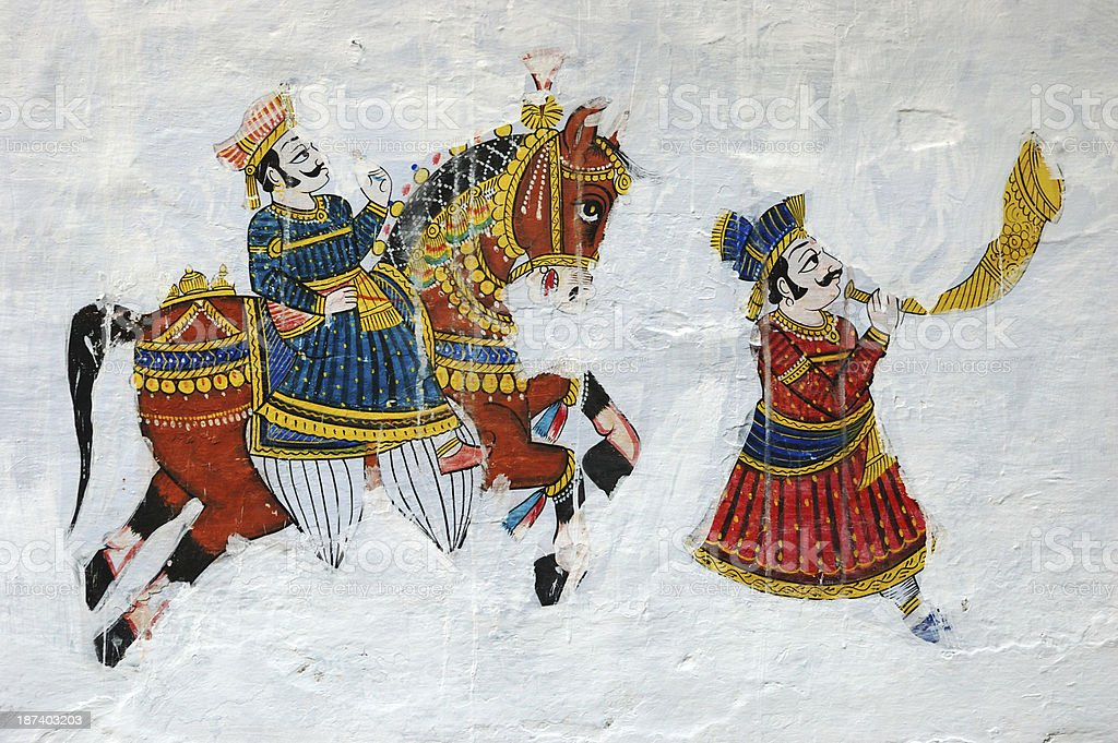 Traditional colourful medieval wall painting in Udaipur,Rajasthan,India stock photo