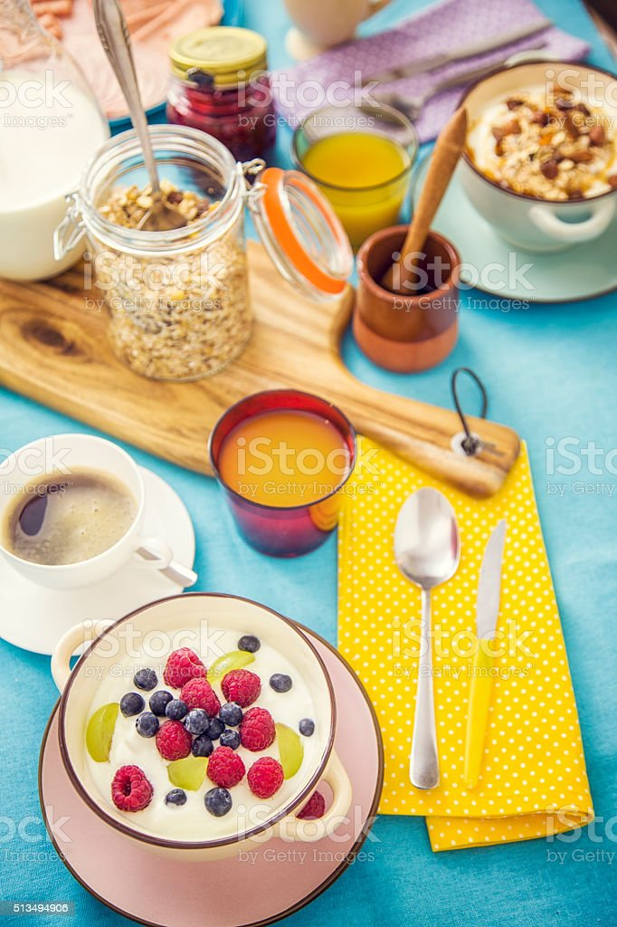 Traditional Continental Breakfast Served on a Table stock photo