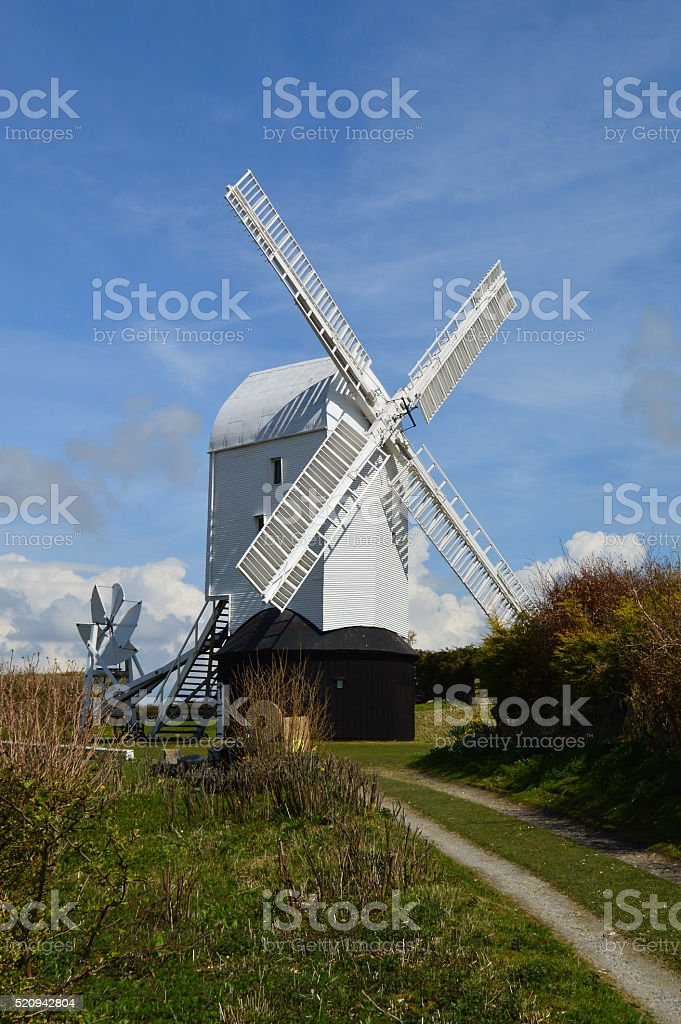 Traditional corn windmill in West Sussex. stock photo