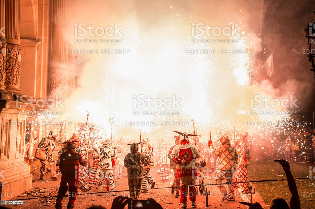 Traditional correfoc and devils performance. stock photo