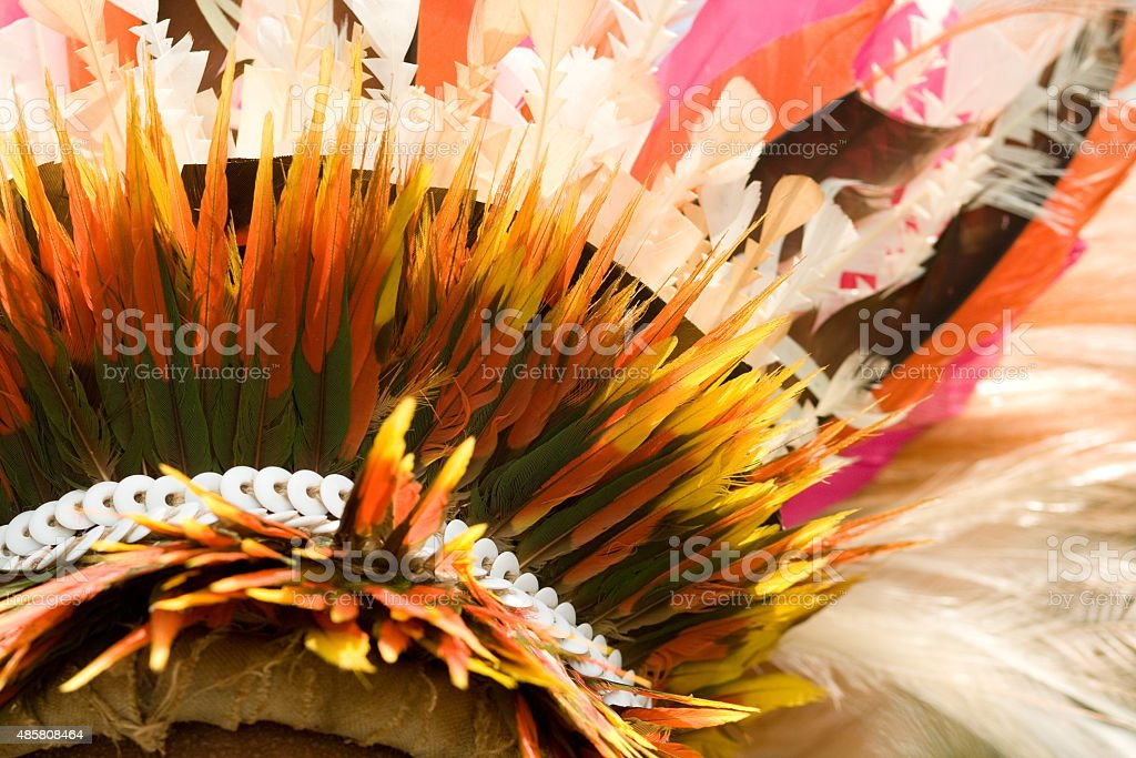 traditional costume feathered head dress stock photo