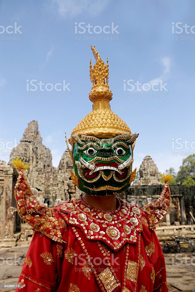 Traditional costumes of Cambodian culture, Angkor Wat, Cambodia stock photo