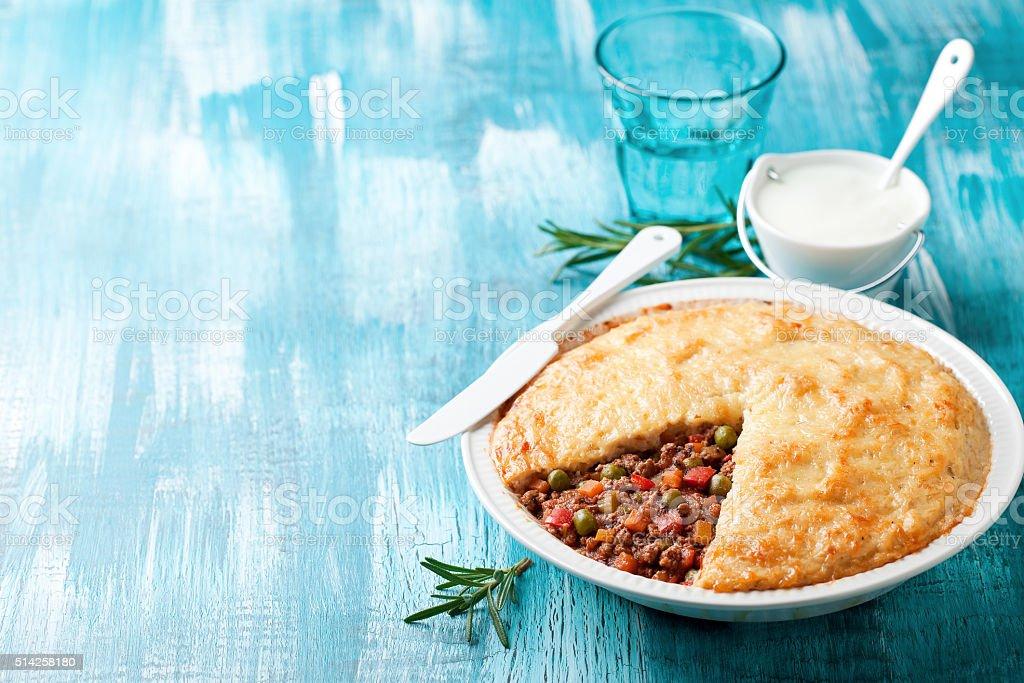Traditional cottage pie (Shepherd's pie) stock photo