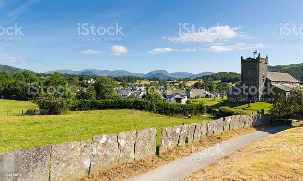 Traditional country village in English Lake District Hawkshead Cumbria stock photo