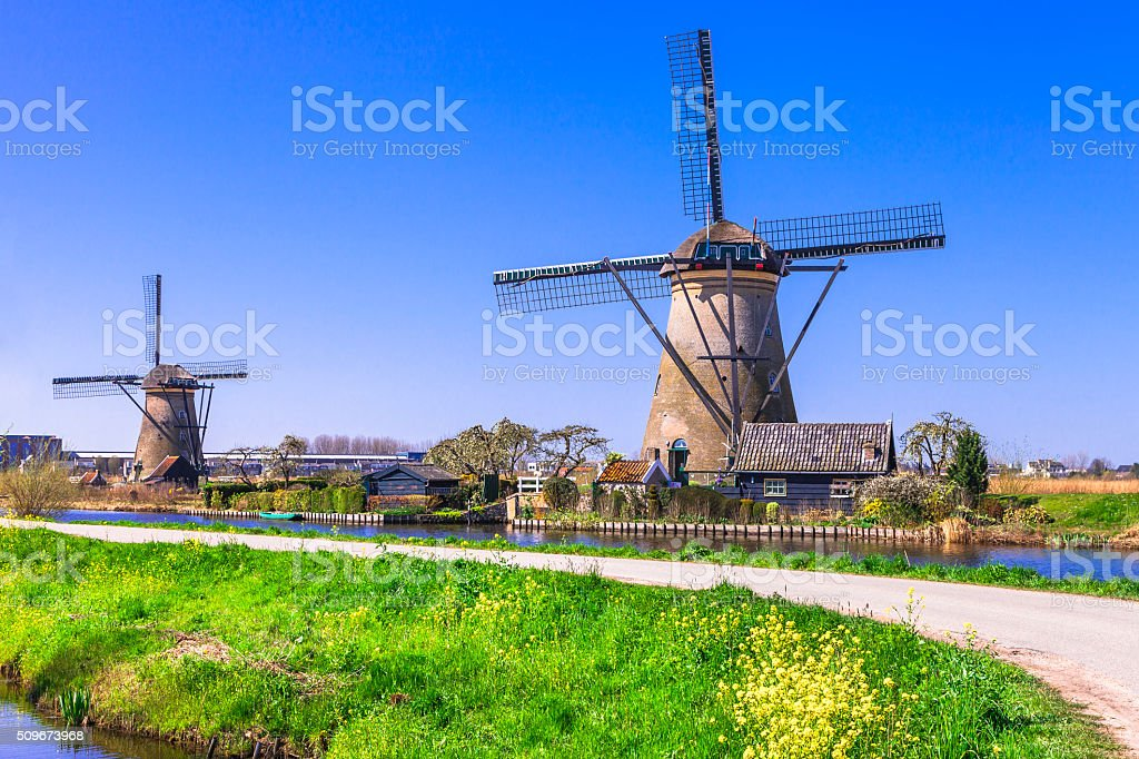 Traditional Countryside of Hollande.Kinderdijk. stock photo
