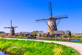Traditional Countryside of Hollande.Kinderdijk.
