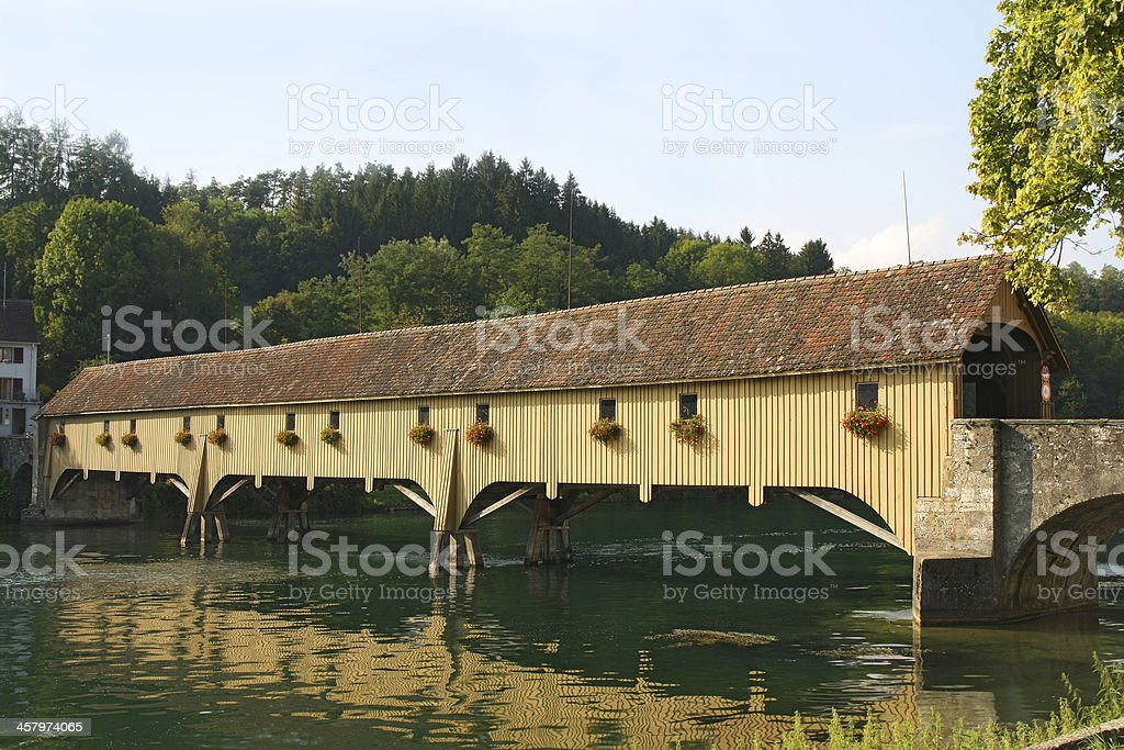 Traditional Covered Wood Bridge stock photo