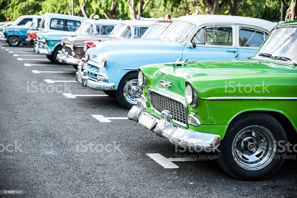 Traditional cuban cars parked in row, retro american oldtimer. stock photo