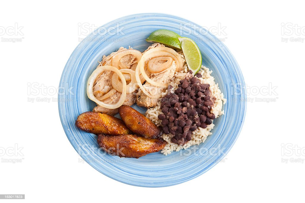 Traditional Cuban Dinner with Path royalty-free stock photo