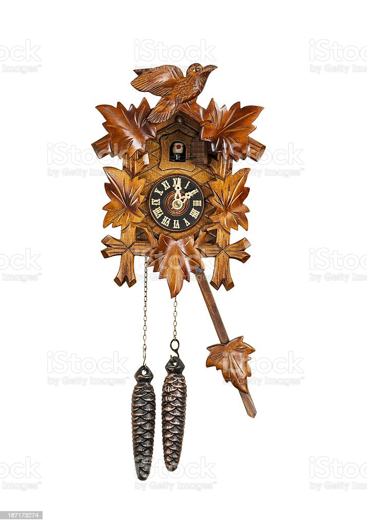 Traditional Cuckoo Clock Sounding on the Hour stock photo