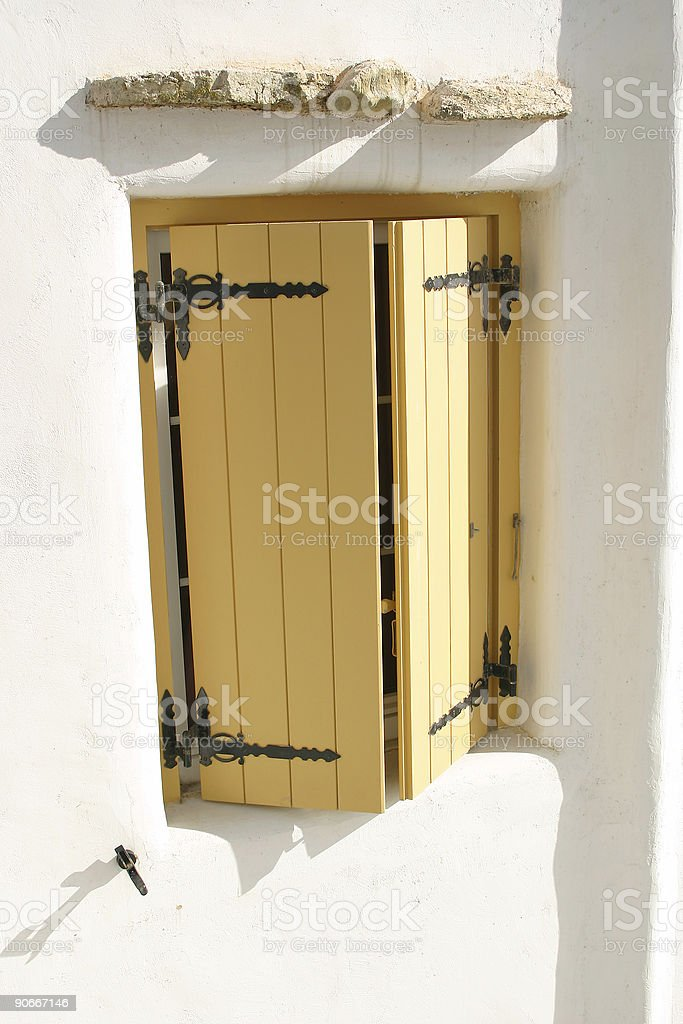 Traditional cyklades window, Greece royalty-free stock photo