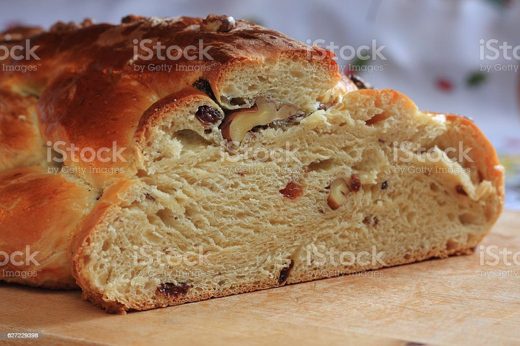 Traditional Czech Christmas cake with candles in the background stock photo