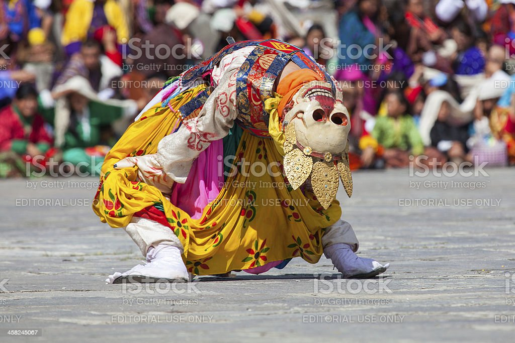 Traditional dance at festival in the Timphu Dzong stock photo