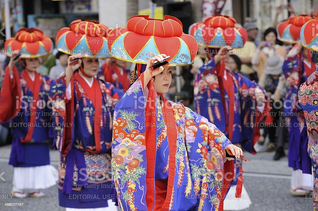 Traditional Dancer in Okinawa stock photo