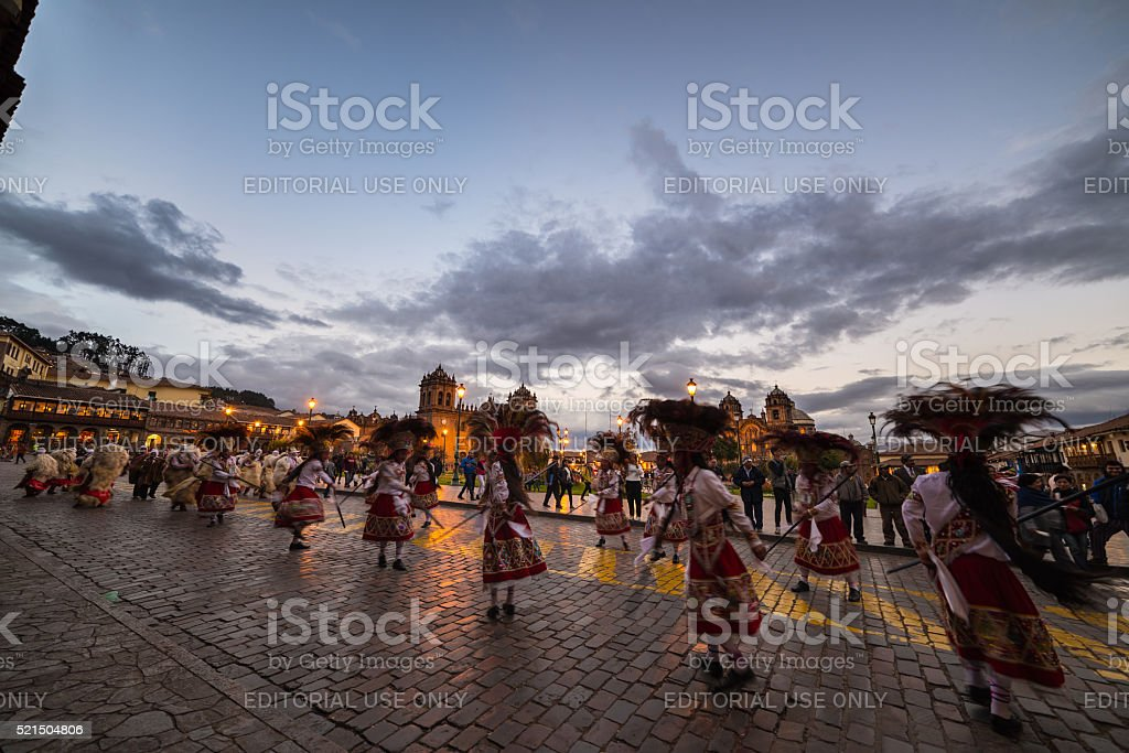 Traditional dancing and festival in Plaza de Armas, Cusco, Peru stock photo