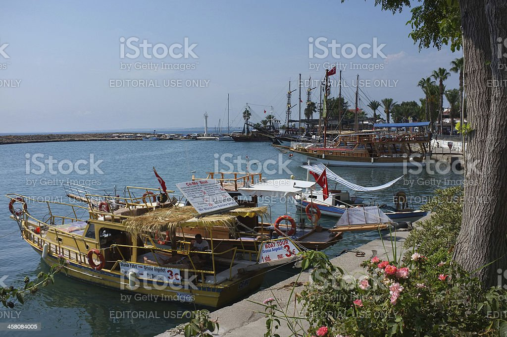 Traditional day boats in Side, Turkey royalty-free stock photo