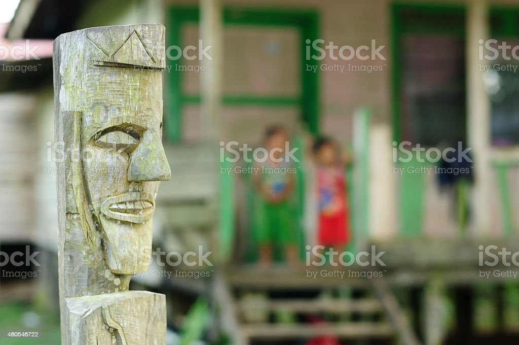 Traditional Dayak tribal culture, Indonesia stock photo