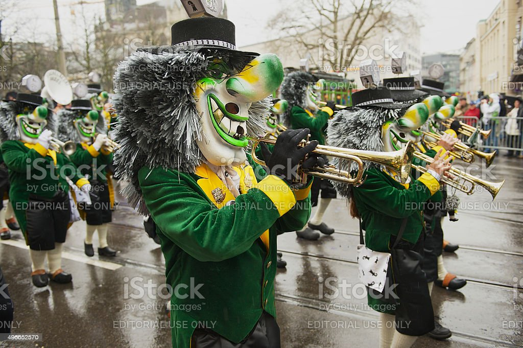 Traditional daytime procession at Basler Fasnacht. stock photo