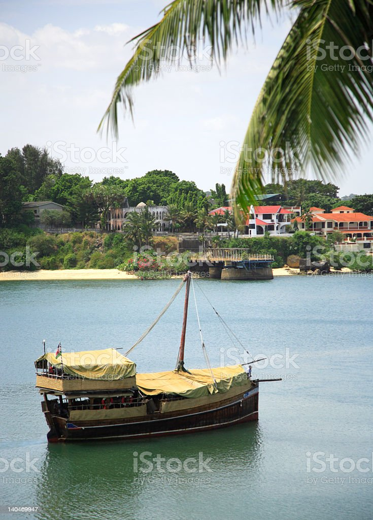 Traditional dhow on the river in Mombasa Kenya Africa stock photo
