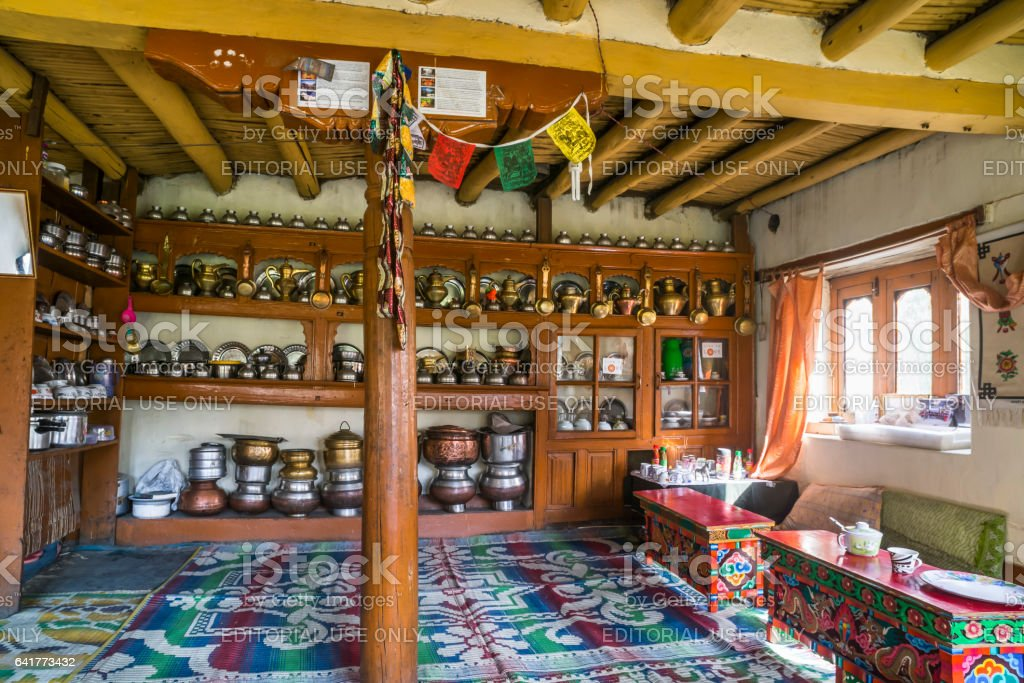 Traditional dining room and cooking houseware in Markha village (Ladakh) stock photo