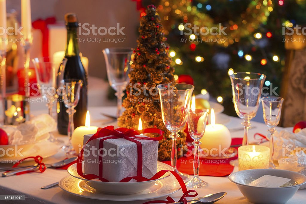 Traditional dishware on Christmas table royalty-free stock photo