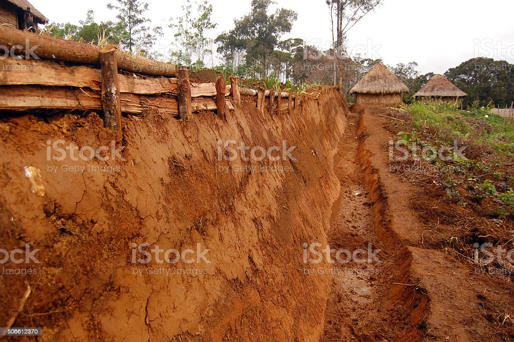 Traditional ditch at highlands village stock photo