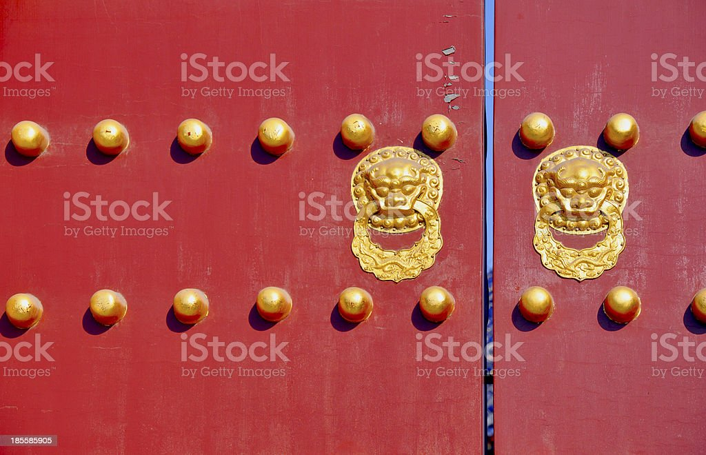 Traditional door with knockers stock photo
