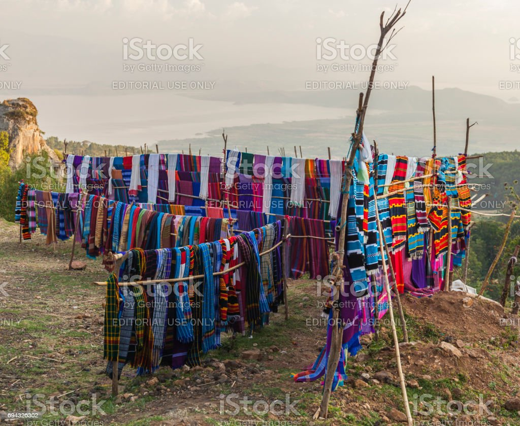 Traditional Dorze market. Hayzo Village. Dorze. Ethiopia. stock photo