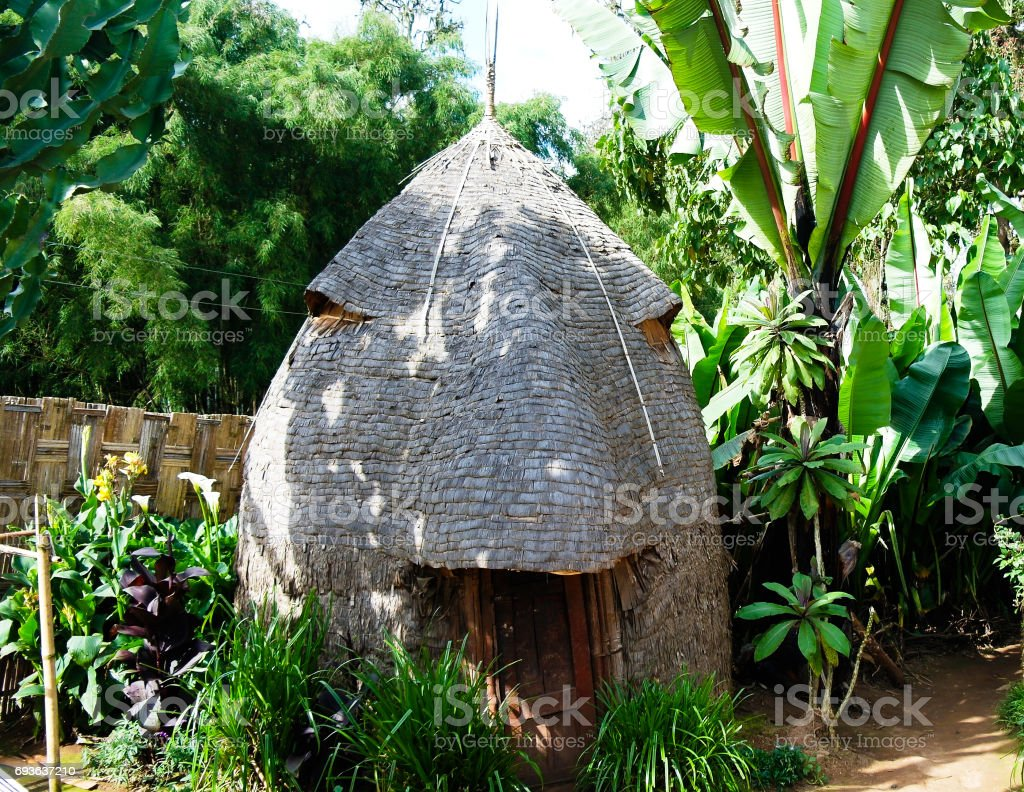 Traditional Dorze tribe house in Chencha , Ethiopia stock photo