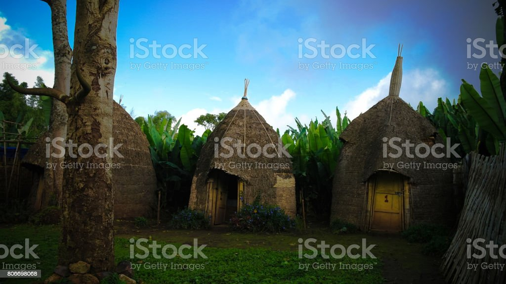 Traditional Dorze tribe village, Chencha, Ethiopia stock photo