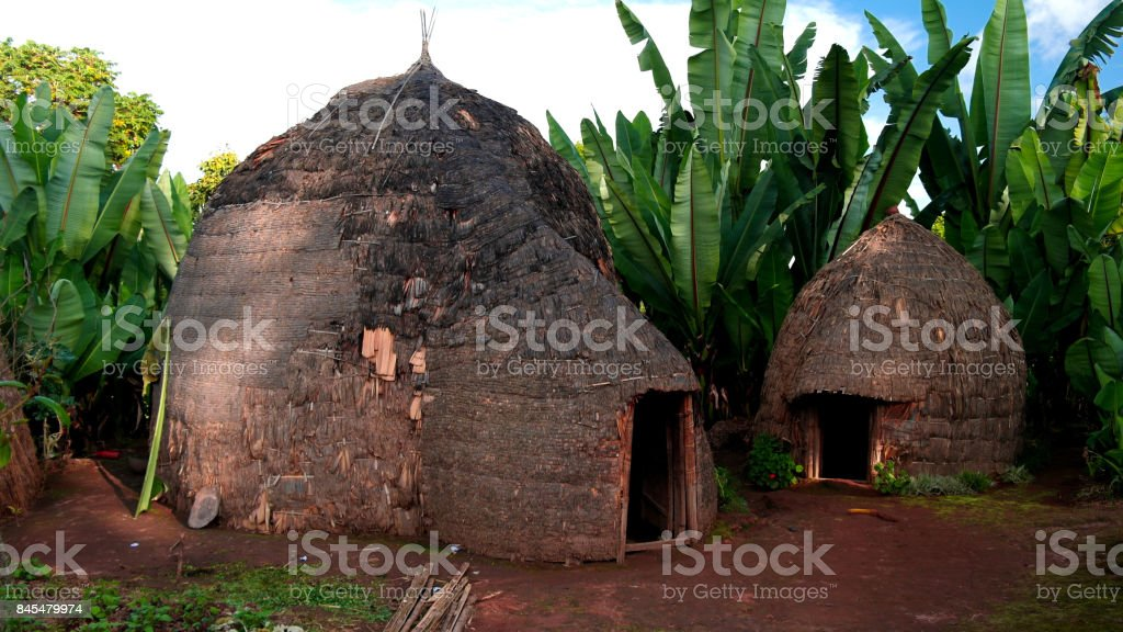 Traditional Dorze tribe village,Chencha, Ethiopia stock photo