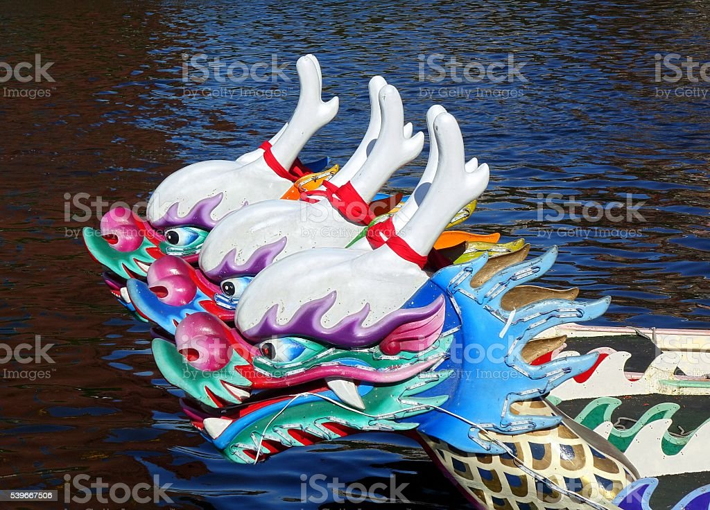 Traditional Dragon Boats in Taiwan stock photo