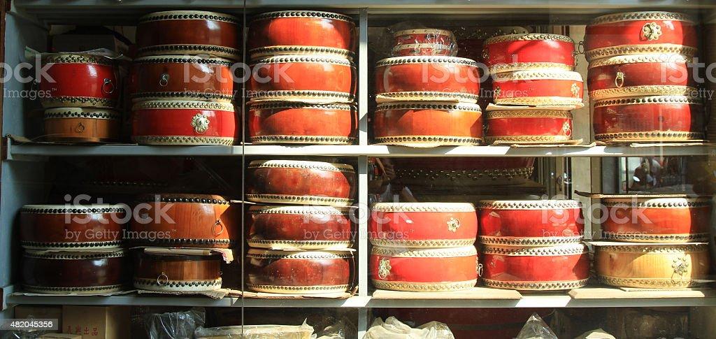 traditional drum shop in Changhua, Taichung, Taiwan stock photo