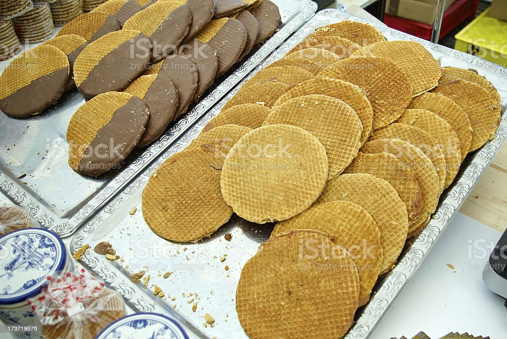 Traditional Dutch buttercups Stroopwafels  Verwij cookies royalty-free stock photo