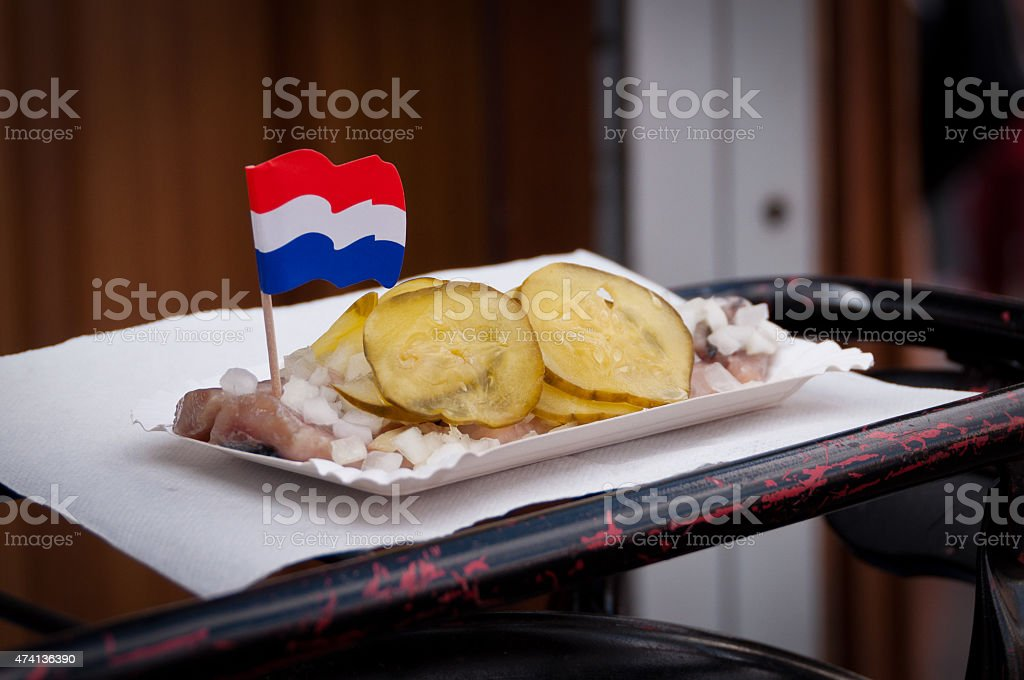 Traditional Dutch Herring stock photo