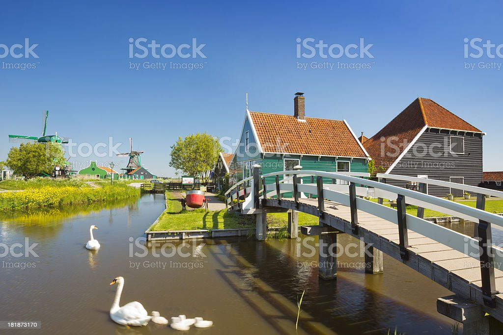 Traditional Dutch houses in Zaanse Schans, The Netherlands stock photo