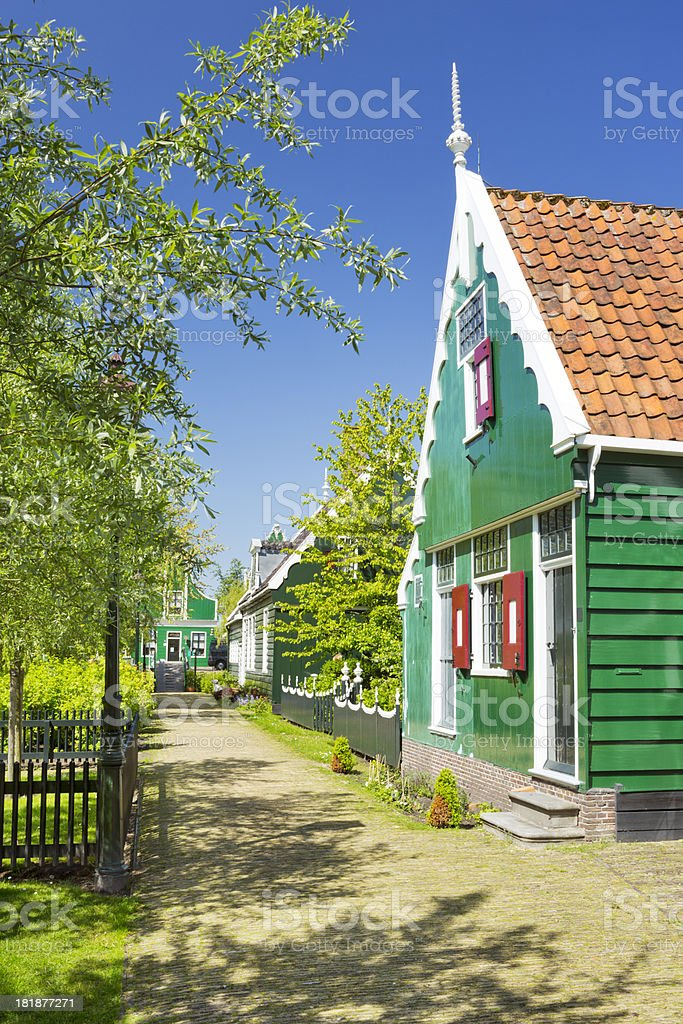 Traditional Dutch houses in Zaanse Schans, The Netherlands royalty-free stock photo
