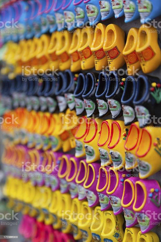 Traditional Dutch style wooden shoes from Amsterdam, Netherlands stock photo